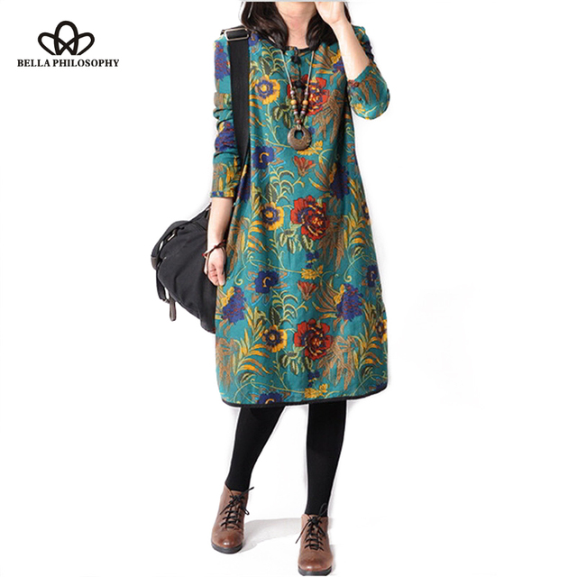 2016 spring summer new cotton and linen ethnic flroal print plus size casual women dress real photo
