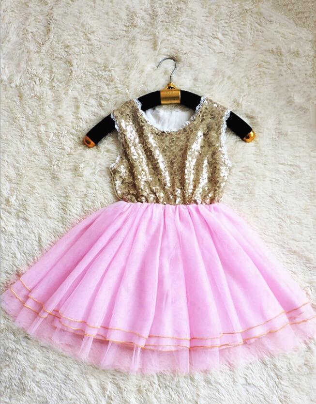 e5ad2ff82c11 New Hot Children Kids Gold Sequined Pink Mesh Tutu Dresses Summer ...