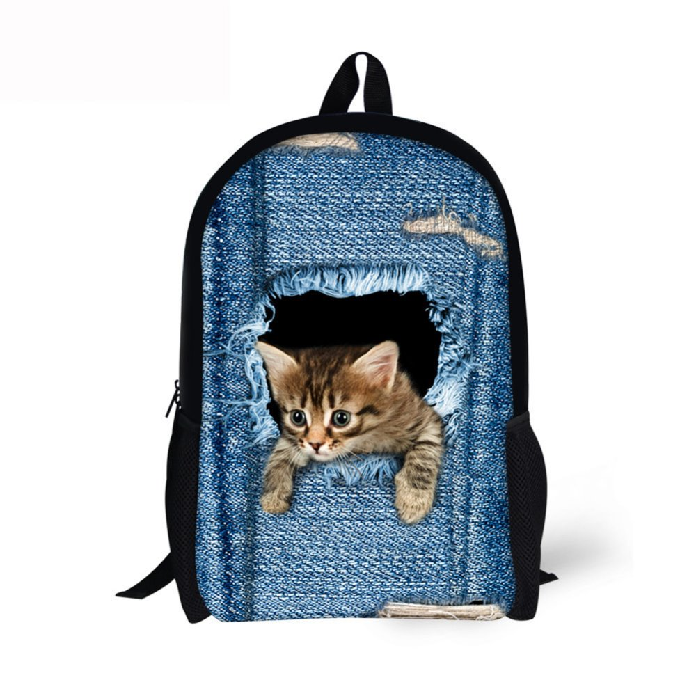 Customized Can Customized 3D Children School Bags For Girls 16Inch Cartoon School Backpack Cats Dog Funny Small School Bag