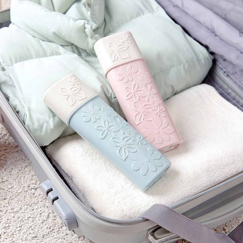 1Pc Portable Creative Flower Carved Toothbrush Cover Holder Outdoor Travel Hiking Camping Toothbrush Case Storage Box image