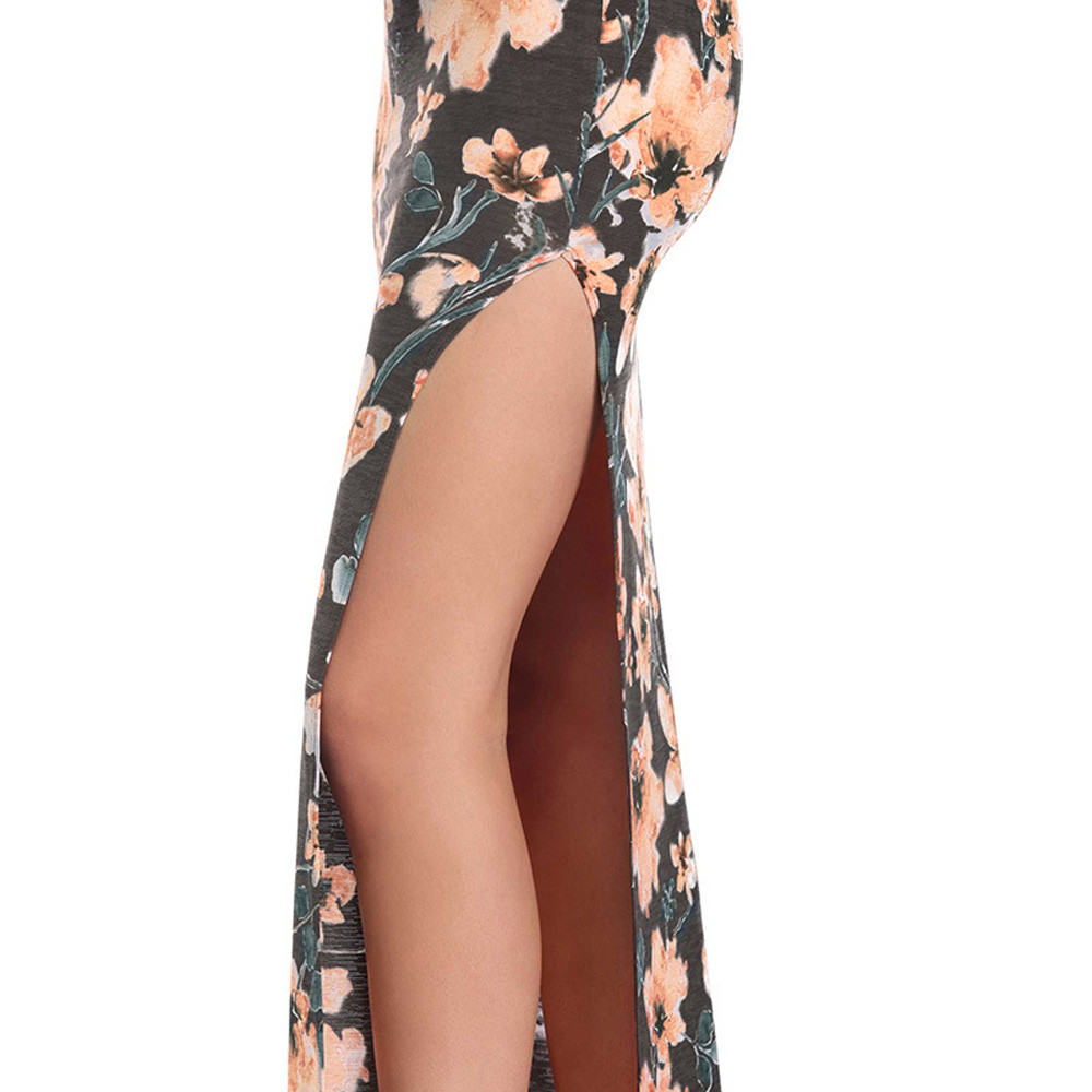 Free Ostrich 2019 Fashion Womens Floral Printed Camis Backless Split Party Sexy Bodycon Long Dress Side Slit Vintage Long Dress