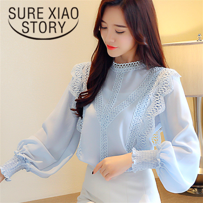 blusas mujer de moda 2018 Fall white hollow lace chiffon   blouse     shirt   long sleeve women   shirts   womens tops and   blouses   1448 45
