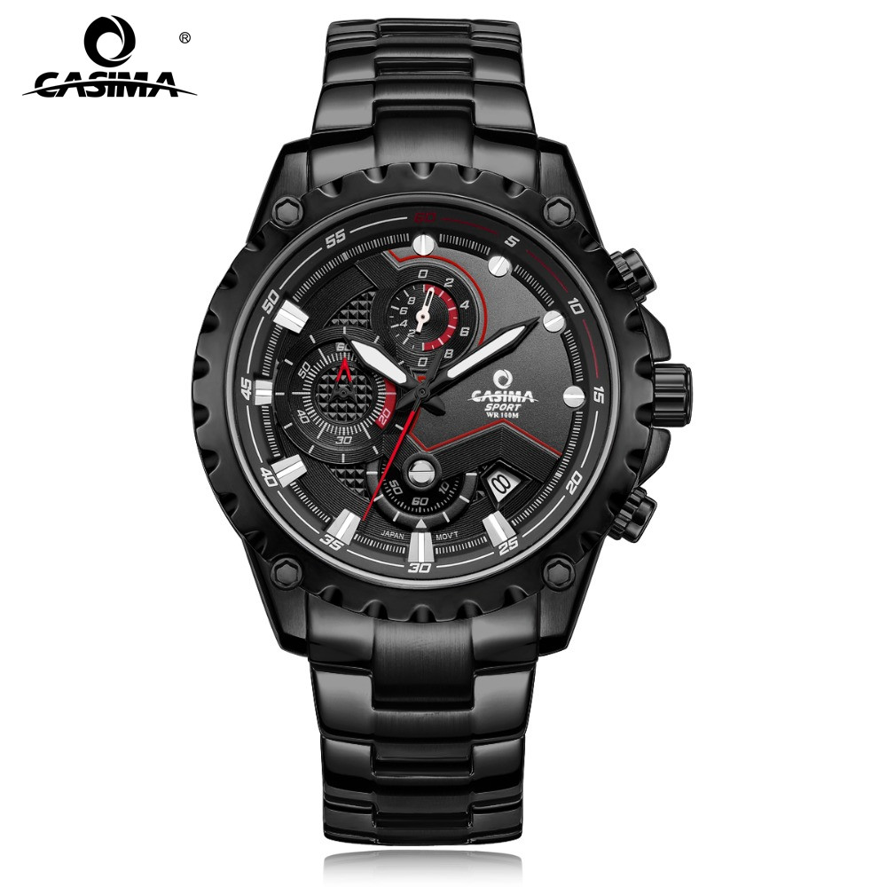 CASIMA Sport Herre ure Fashion Brand Quartz Armbåndsur Lysende Vandtæt Watch Men Multifunktions Kalender Display # 8203