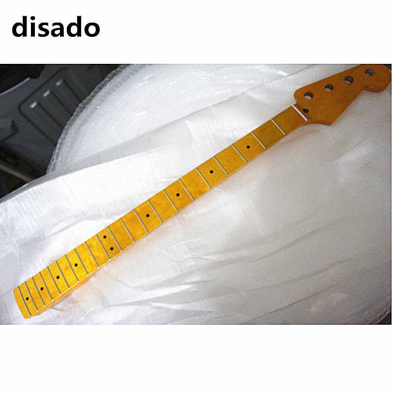 disado 21 frets maple electric bass guitar neck with maple fingerboard inlay dots yellow color glossy paint guitar parts limited edition custom shop 5 strings dragonfly electric bass guitar maple neck through bamboo inlay china oem factory