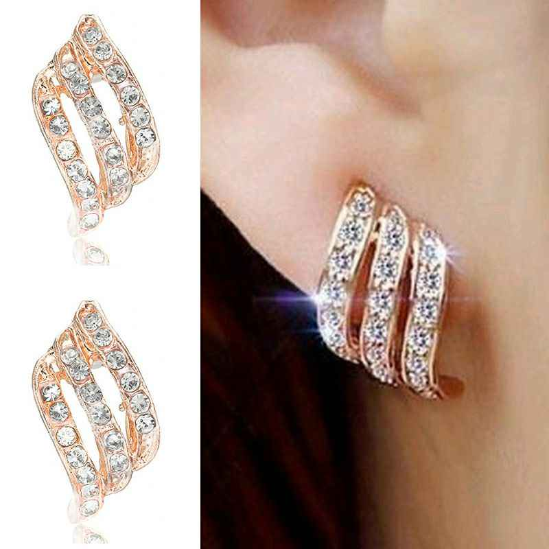 Crystal Flower Drop Earrings for Women Fashion Jewelry Gold Silver Rhinestones Earrings Modern Jewelry Gift
