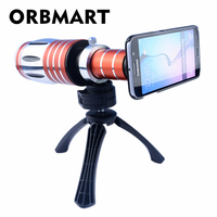 ORBMART 50X Optical Zoom Aluminum Telephoto Telescope Phone Lens+Tripod+Back Case Cover For iPhone 8 8 Plus Samsung S7 S8+ Edge