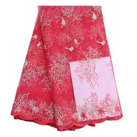 Gorgeous red french net lace fabric with white embroidery african mesh lace for party dress B126-3