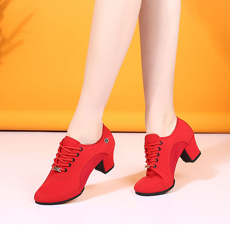 Image 5 - Breath Cloth Fabric Latin Salsa Dance Shoes For Women Middle Heels Ballroom Dance Shoes Ladies Black Non slip Modern Dance Shoes-in Dance shoes from Sports & Entertainment on AliExpress