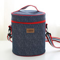 Round Heat Preservation Package Women Men Lunch Boxes Denim Shoulder Lunch Bag Picnic Bento Box Insulated Pack Thermal Ice Packs
