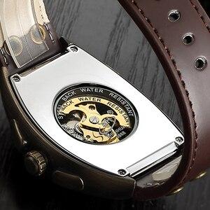 Image 2 - Shenhua  Vintage Automatic Watch Men Mechanical Wrist Watches Mens Fashion Skeleton Retro Bronze Watch Clock montre homme