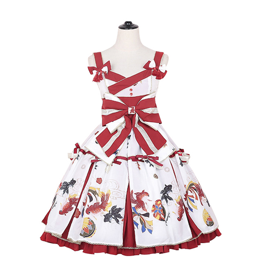 Vintage Japanese Party Lolita JSK Dress Goldfish Print Big Bow Tassel Cute Suspender Dress Sleeveless High Waist Women Dresses