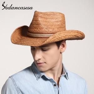 Image 3 - הגנת UV קיץ שמש כובעי לגבר נשים בעבודת יד רפיה קש טרילבי שווי חוף חג מגניב WGB0500005