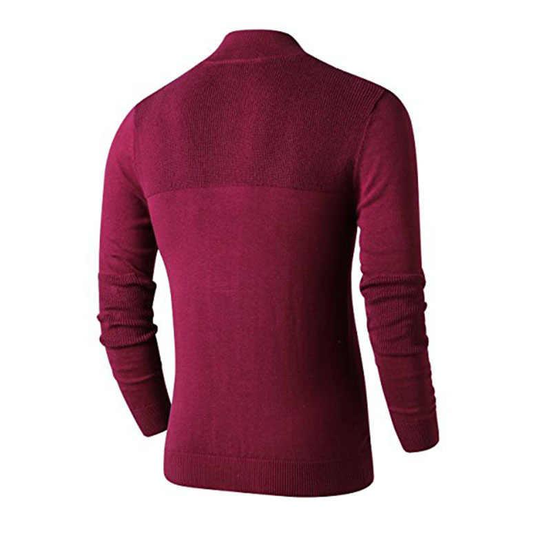 남성 폴로 스웨터 슬림 피트 지퍼 업 모의 목 긴 소매 스웨터와 풀오버 스웨터와 립 에지 캐주얼 풀 옴므 M-3XL