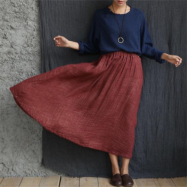 Johnature Femmes Coton Lin Maxi Jupes Grand Balayage Taille Élastique  Vintage 2017 Automne Originale Doux Mode