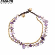 Amourjoux ручной работы двухслойная оплетка фиолетовые искусственные