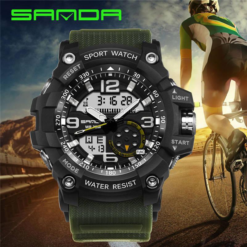 Men Watch SANDA Dual-Display Electronic-Wrist Digital Waterproof Analog LED 661S10 Montre