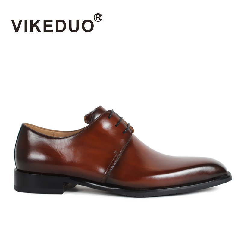 2018 Vikeduo Luxury Casual Newest Fashion Handmade Patina Genuine Leather Office Party Wedding Dress Shoe Brown Men Derby Shoes vikeduo hot sale vintage retro custom men s derby shoes fashion business dress luxury wedding genuine leather original design