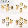 Enfashion geométrica quadrado spike bola brincos de cristal rosa banhado a ouro brincos do parafuso prisioneiro da orelha brincos para as mulheres jóias brinco