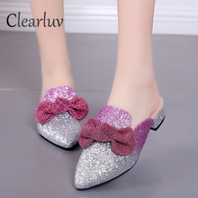 Summer Pointed Toe Women Slippers Shoes Square Heels Butterfly-knot Bling Sequined Cloth Flip Flops Big Size Woman C0700