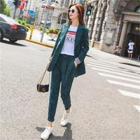 Fashion Pant Suits female early autumn New casual loose Corduroy suit jacket + pants two piece Suits women