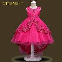 Pretty Lace Blue Puffy Flower Girl Dresses 2018 High Low Lace Appliques Communion Dresses Pageant Dresses For Little Girls Dress