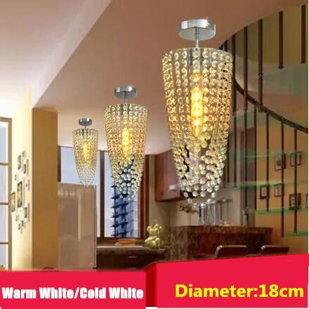 LED 1-light Chrome Modern K9 crystal chandelier lighting D18*H50cm AC110V-265V Transparent color