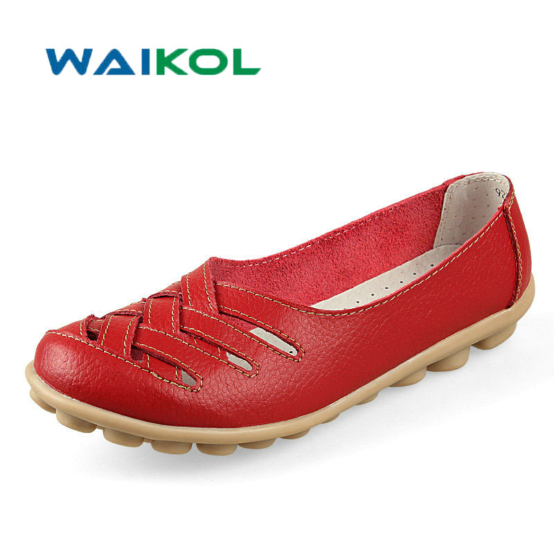 Waikol 10 Colors Women Genuine Leather Mother Shoes Moccasins Women's Soft Leisure Flats Female Driving Shoe Flat 2017 new leather women flats moccasins loafers wild driving women casual shoes leisure concise flat in 7 colors footwear 918w