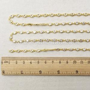 Image 4 - WT BC081 Beste Goud Electroplated Messing Ketting Met Zirkoon Bead Charm Messing Ketting Voor Sieraden Supply