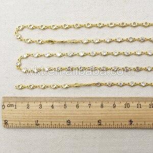 Image 4 - WT BC081 la mejor cadena de latón galvanizado de oro con cuenta de circón, cadena de latón para suministro de joyería
