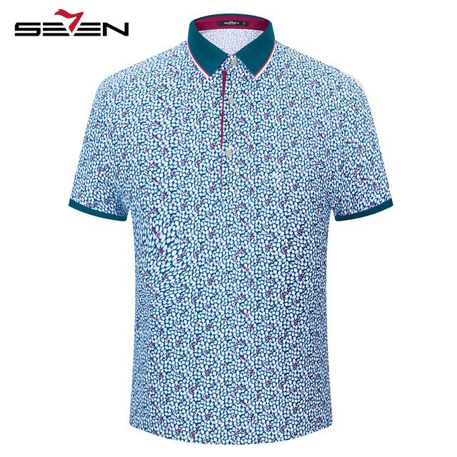 Seven7 hombres casual polo camisas de flores patrón de todo de impresión delgada de manga corta rendimiento transpirable polo camisas 110t50550