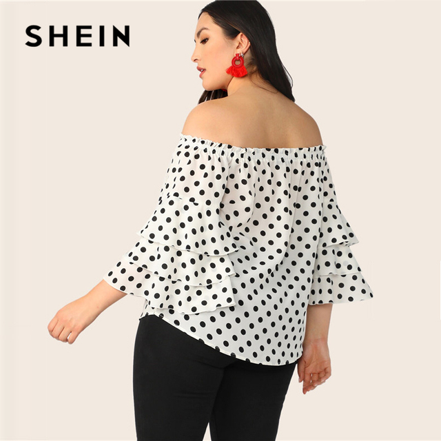 SHEIN Plus Size White Polka-Dot Layered Sleeve Off Shoulder Top Blouse 2019 Women Spring Summer Boho Ruffle Sleeve Blouses Shirt 2