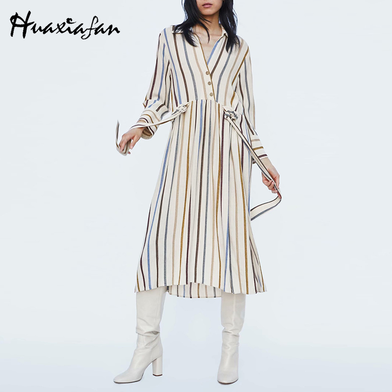 Conception innovante 6a927 18c43 Achat Huaxiafan Vintage Chemise Robe Femmes Avec Manches ...