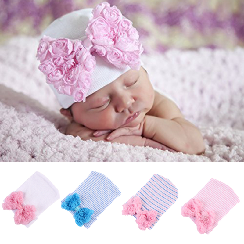 Lace Bow Flower Hat Newborn Baby Cotton Beanie Cap Infant Girl Soft Pure Cotton Knitted Bonnet Bebe Hospital Hats Bow 0-3 Months