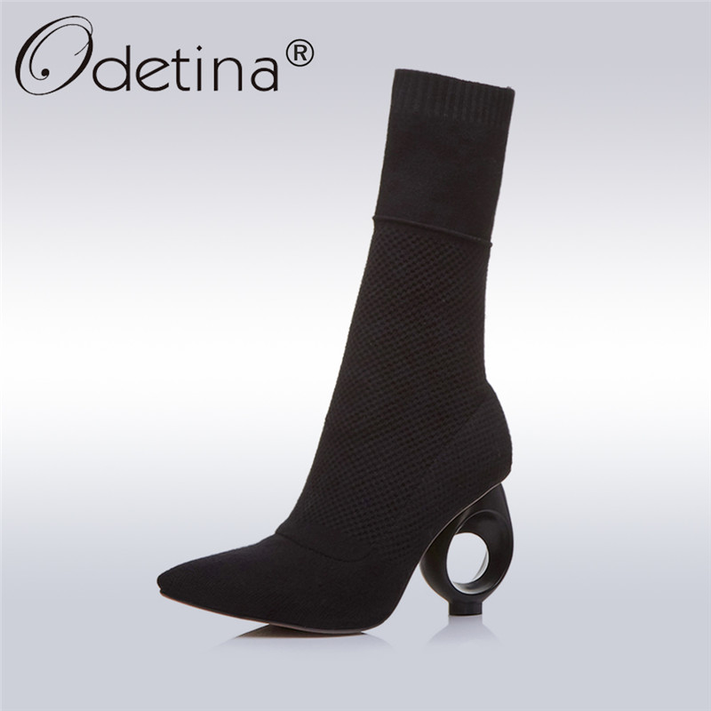 Odetina 2017 New Pointed Toe Ankle Boots Women Strange High Heel Knitting Boots Sock Booties Slip On Fashion Shoes Plus Size 43 strange heel women ankle boots genuine leather elastic booties wedge shoes woman high heels slip on women platform pumps