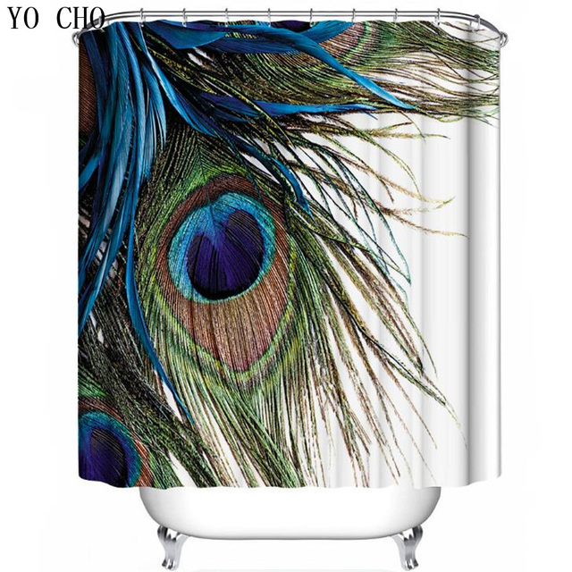 YO CHO The Pattern Of Birds Shower Curtains Bathroom Curtain Peacock Bath Watercolor