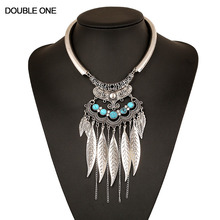 Fashion Leaves Tassel Necklace Gypsy Boho Maxi Collier Statement Jewelry for Women Party Gift