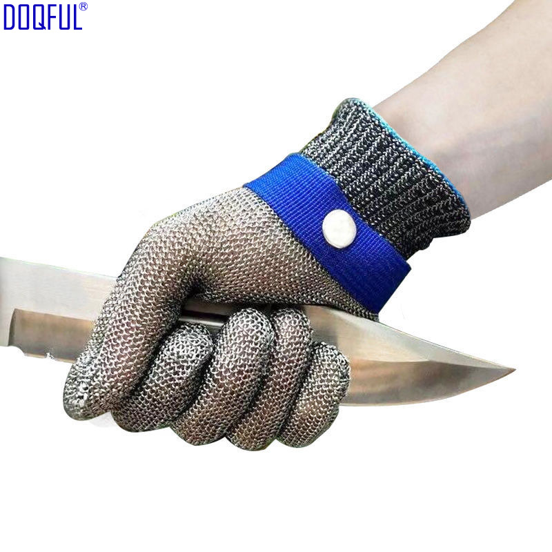 316L Stainless Steel Wire Anti Knife Glove With Buckle Working Safety Self Defense Cut Resistant Kitchen Hand Protective Gloves