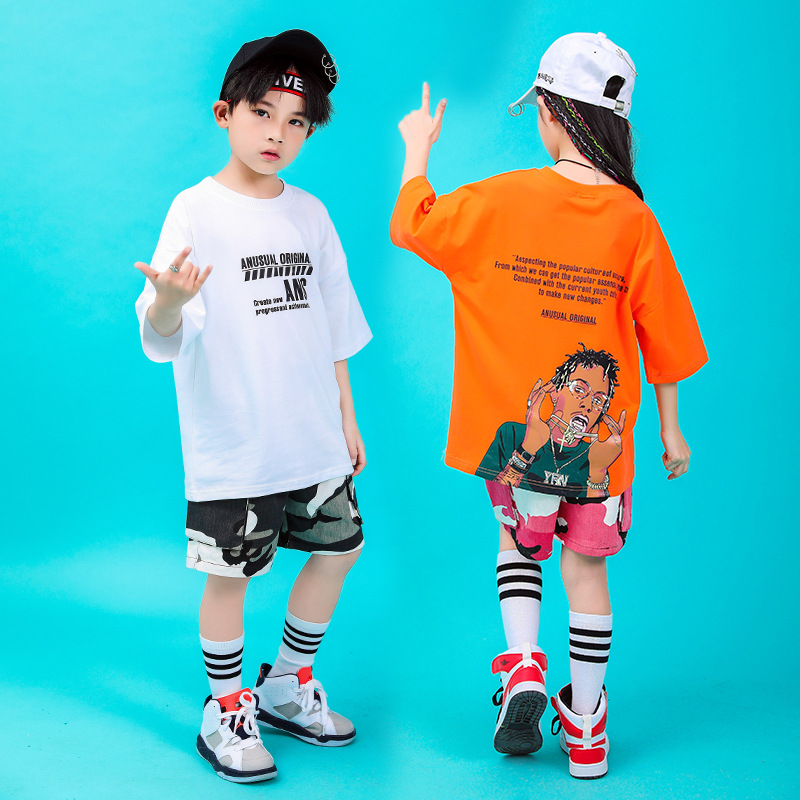 Child Jazz Hip Hop Dance Clothes For Girls Boys T Shirt Cropped Tops Short Pants Ballroom Dancing Costumes Kids Clothing Wear