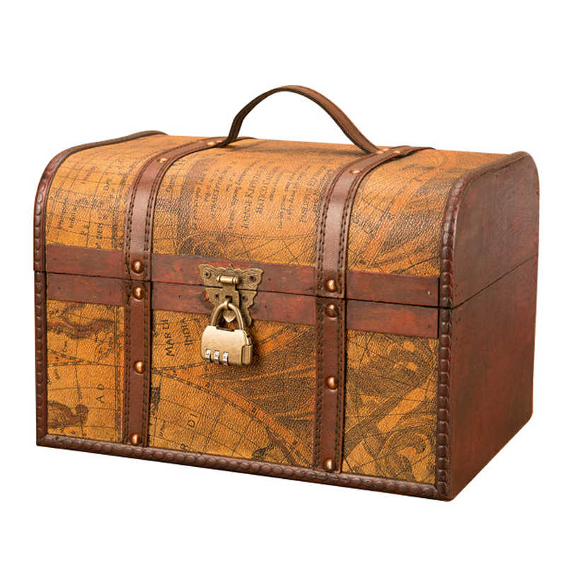 Classical Wooden Box European Retro Creative Storage Box Antique Treasure Chest Ornaments Household Vintage Home Decoration Gift
