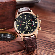 Men Military Quartz Watch Chronograph Mens Watches Top Brand Luxury Leather Sports Wristwatch