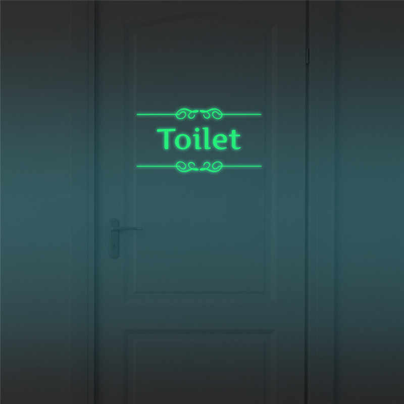 Luminoso Wc Wall Sticker Bagno Glow in The dark adesivi per Porte Decorazione WC Indoor Vinile Decalcomanie Vintage Decorazione Della Parete