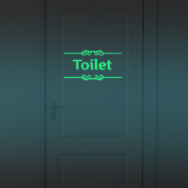 Luminous Toilet Wall Sticker Bathroom Glow In The Dark Door Stickers Decor WC Indoor Vinyl Decals Vintage Wall  Decoration