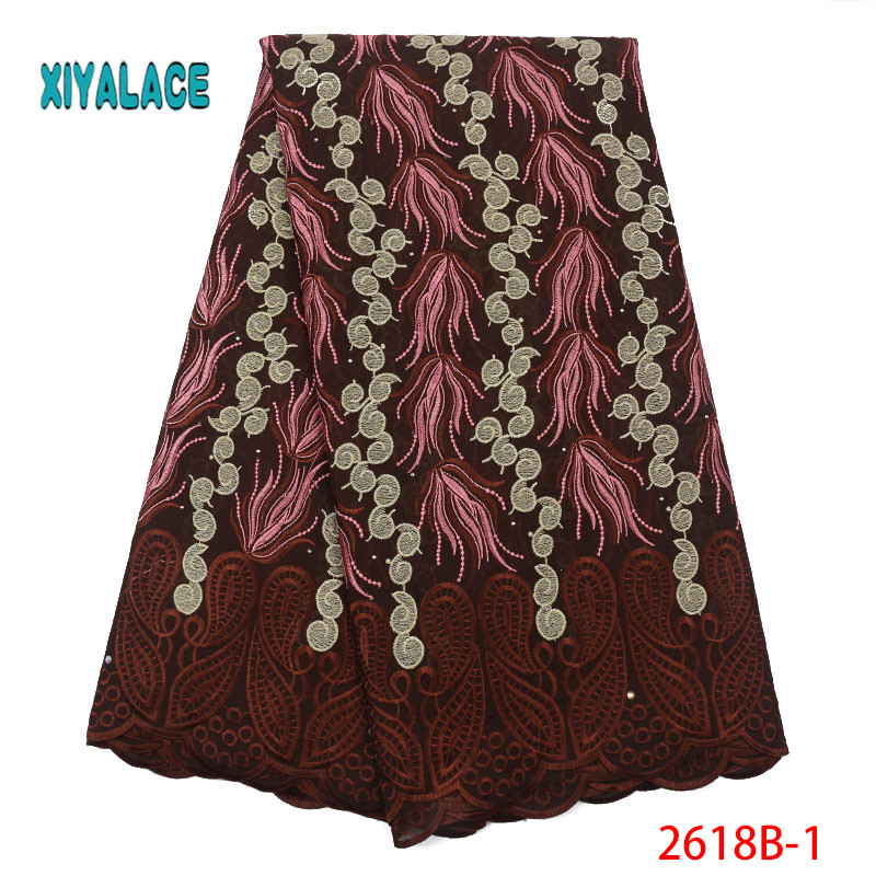 African Lace Fabric Swiss Voile 2019 High Quality Lace African Dresses For Wedding Lace Cotton Lace Party Dress YA2618B-1