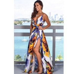 Image 5 - 9 Colors Women Maxi Dress High Slit Sleeveless V Neck Summer Dress Beach Holiday Casual Long Dress eDressU LQ 2301