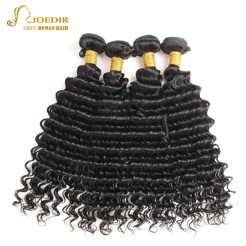 JOEDIR Hair 4 Bundles Deals Indian Deep Wave Hair Extensions 10 To 26 Inch Non Remy Natural Black Human Hair Bundles