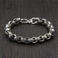 Silver Silver Circle Round Buckle Qi S925 Heavy Chain Silver Bracelet For Men Retro The