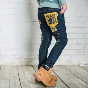 IENENS/От 5 до 13 лет модные облегающие прямые джинсы для мальчиков, детские длинные джинсы, весенне-осенние повседневные брюки для маленьких ма...