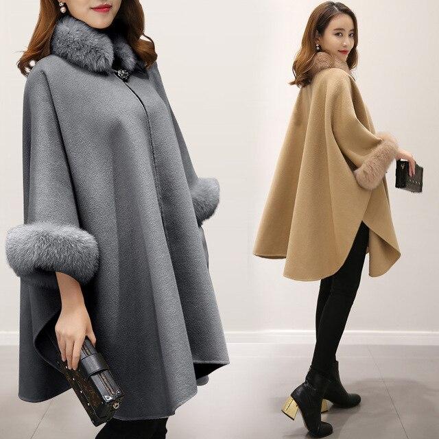 2016 European winter new artificial fox fur in the long wool coat cloak shawls woolen coat temperament v391