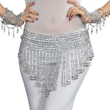 HOT New Belly Dance Costume Hip Scarf Bead&Bell Belt 2 Color Gold / Silver