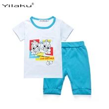 hot deal buy cartoon girls boys clothing sets cotton summer kids girls clothes set children clothing short sleeve t-shirt + short pants cf421